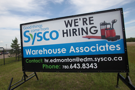 Sherwood Park Portable Now Hiring Signs