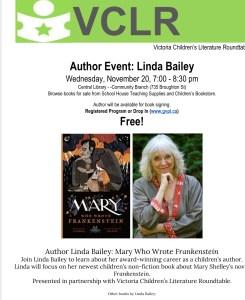 Author Linda Bailey coming to Victoria
