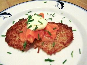 Potato Latkes with Smoked Salmon, Sour Cream and Chives