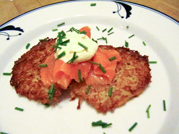 Potato Latkes with Smoked Salmon, Sour Cream and Chives