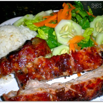 Baby Back Pork Ribs with Hoisin Barbecue Sauce, rice and salad