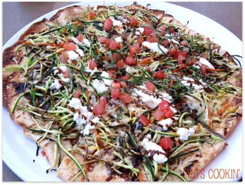 Mediterranean Flatbread Pizza at Lazy Dog Cafe