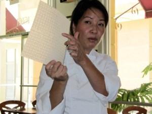 Chef Haley Nguyen spring roll demo