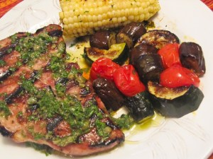 Brined Pork Chops with Parsley Caper Salsa Verde