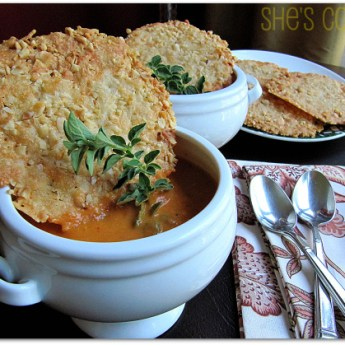 Roasted Tomato Soup with Manchego Crisps