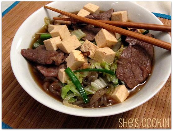 Sukiyaki with Tofu and Shirataki Noodles