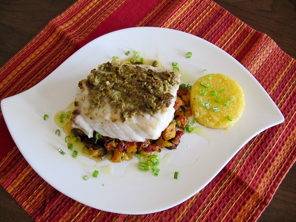 pacific seabass, provencal vegetables, Provencal recipes, olive encrusted fish