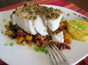 pacific seabass, olive encrusted fish, provencal recipes, provencal vegetables