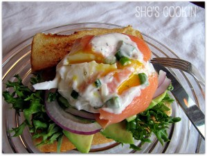Poached eggs wrapped in smoked salmon