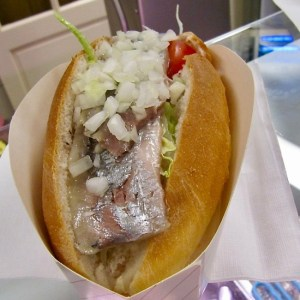 Broodje Haring street food in the Netherlands