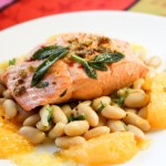 Poached Salmon with Citrus and White Bean + Sage Salad