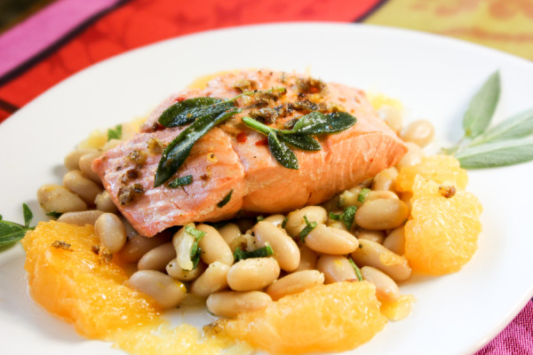 Salmon with Grapefruit, Cannellini Beans and Sage