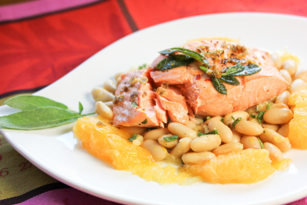 Poached Salmon, White Bean Salad-0161