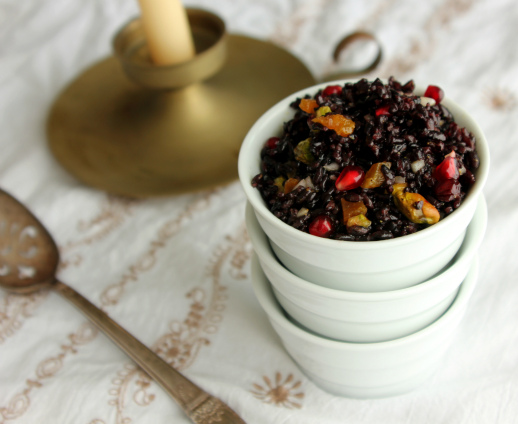 forbidden rice, jeweled black rice, rice with pistachios and dried fruit