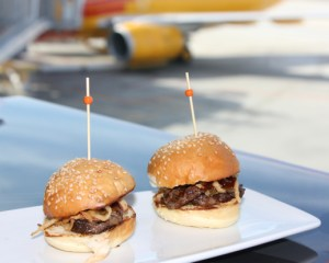 Angus Beef Sliders with crsipy onion strings