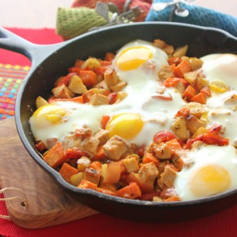 Sweet Potato, Pork and Apple Skillet Hash