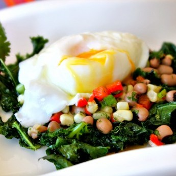Kale and poached egg, hoppin' john, black eyed pea salsa