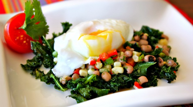 Kale and poached egg with Hoppin' John Salsa