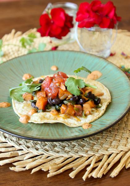 Sweet potato and black bean taco, vegetarian tacos