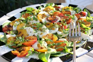 Grilled plums with fresh mozzarella, watercress and pistachios