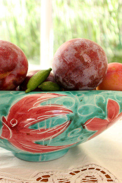 honey punch plums, finger limes