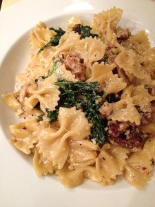 Pitfire Pizza, Farfalle with Sausage & Greens