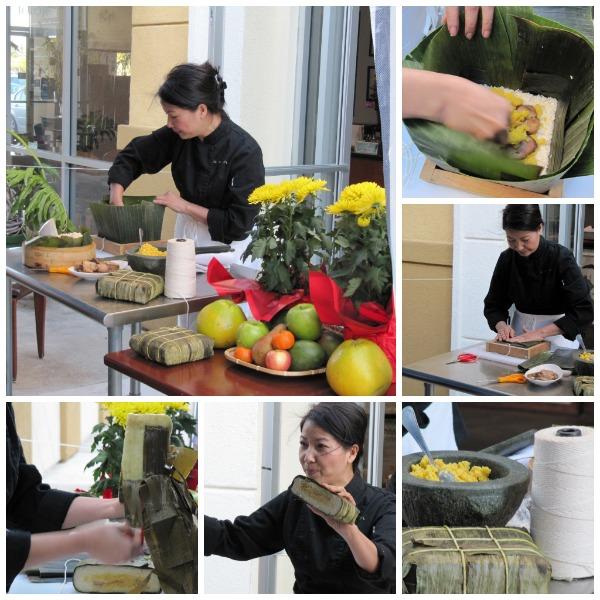 Chef Haley Nguyen making banh chung