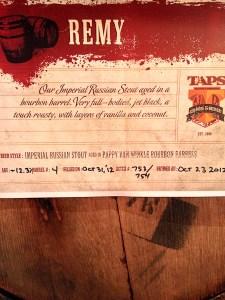 Pappy Van Winkle, TAPS award winning beer, Remy Stout