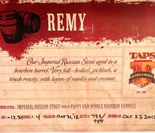 Pappy Van Winkle, TAPS award winning beers, Russian Stout