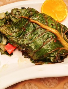 chard, fish wrapped in chard leaves