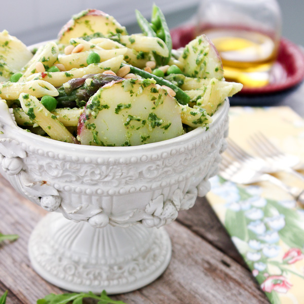 Penne with Arugula Pesto, Potato, Asparagus and Peas | ShesCookin.com