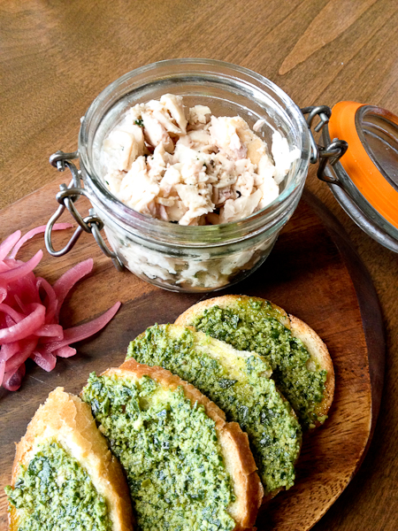 Smoked Trout w/ Arugula Pesto Toasts