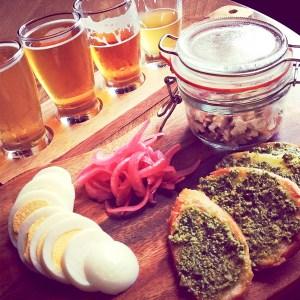 Smoked Trout w/ Arugula Pesto Toasts