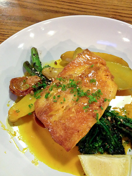 Slapfish, mahi mahi in carrot sauce