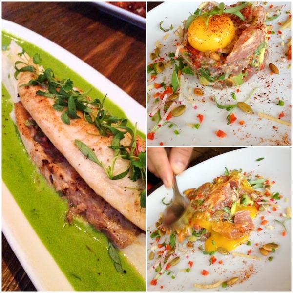 Tuna Tartare and Tilapia with Serrano Chile Sauce
