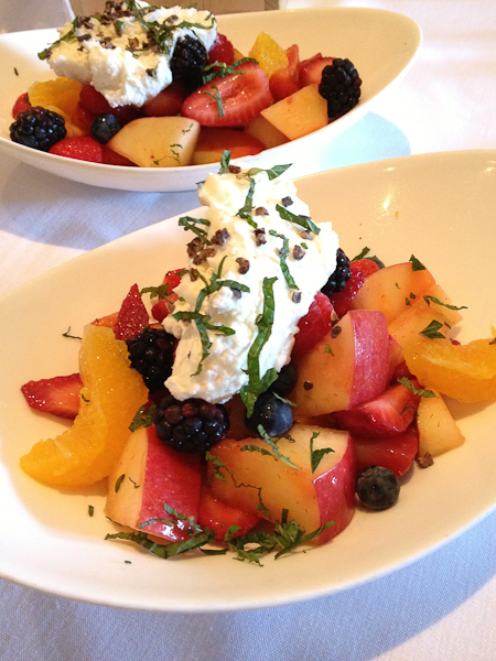 Seasonal Fruit with Moscato d'Asti and mint leaves