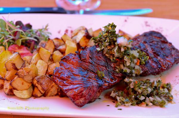 Grass Fed Hangar Steak with Chimichurri, Maro Wood Grill