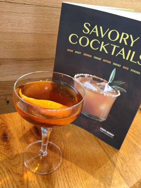 Silk & Gators cognac cocktail, Savory Cocktails book, Greg Henry