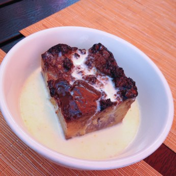 Grilled Bread Pudding with Dulce de Leche and Bourbon Cream Sauce