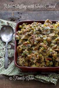 Moist Bread Stuffing with Swiss Chard, Thanksgiving