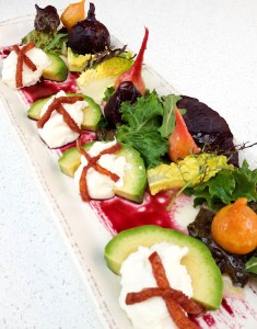 Salt Roasted Garden Beet Salad with Burratta, Avocado, Mandarin Aigre-Doux, Sherry-Maple Vinaigrette