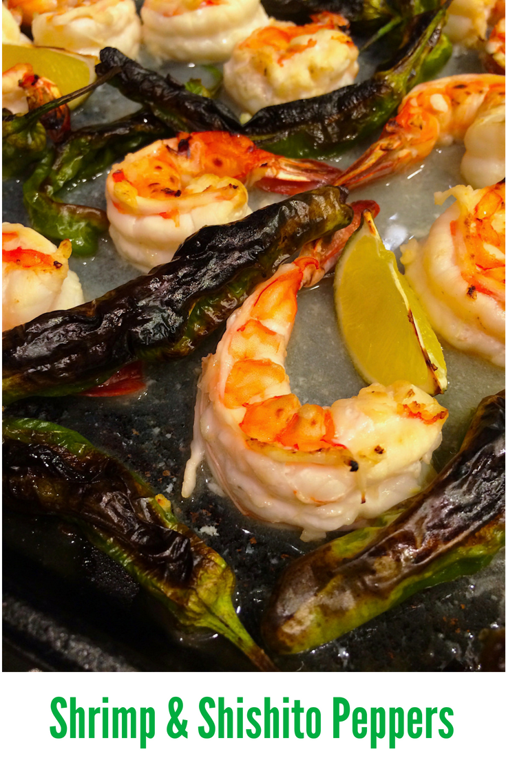 Fresh shrimp and shishito peppers come together for an effortless dinner that is gluten-free and low in fat and calories, yet big on flavor! #shrimp #appetizer #glutenfree #lowfat #lowcalorie