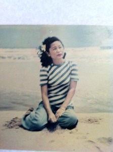 Mom on the beach in Kauai c 1950