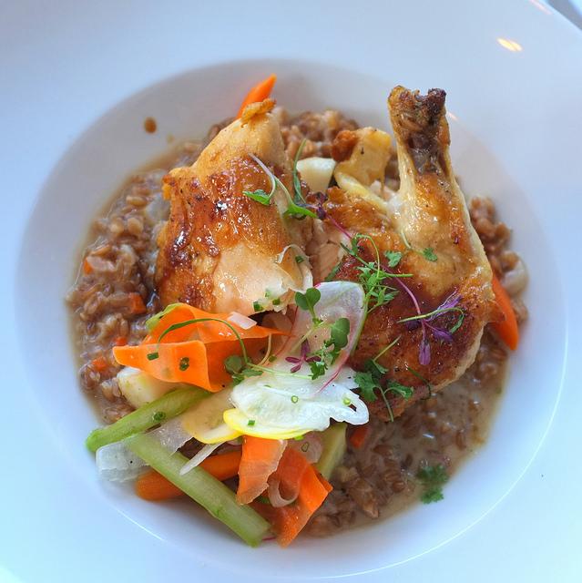 Farro wheat risotto, Poached organic chicken