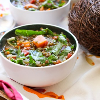 Sweet Potato, Lentil Soup with Swiss Chard   ShesCookin.com