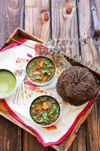 Sweet Potato Lentil Soup with Swiss Chard