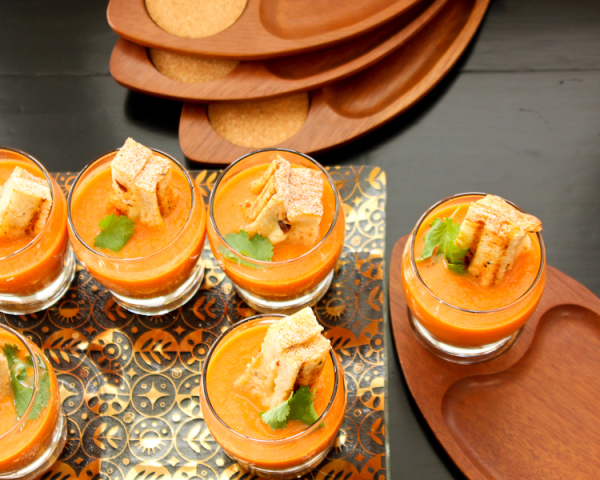 Tomato Soup-Grilled Cheese Crouton Appetizer