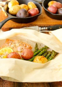 Salmon, Asparagus and Potato Hobos