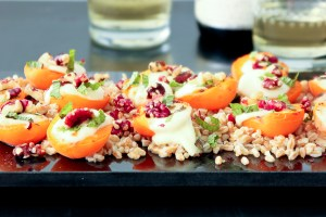 Farro, Apricots, Fresh Mozzarellla with Red Walnuts