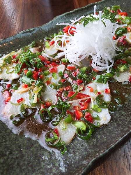 Yellowtail sashimi with diced chiles and ponzu sauce
